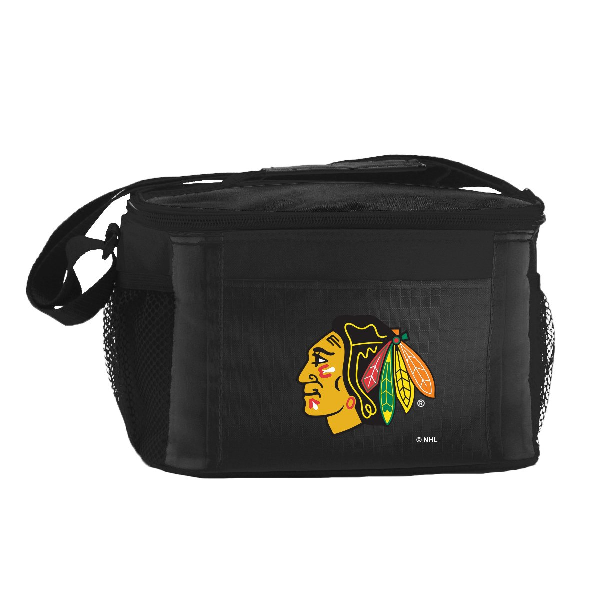 NHL Chicago Blackhawks Insulated Lunch Cooler Bag with Zipper Closure, Black