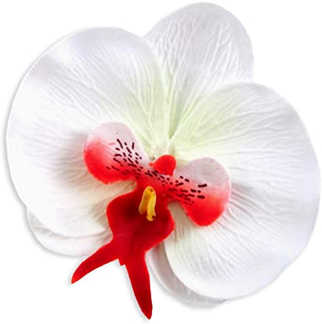 Phalaenopsis  Artificial Flower  Silk Flower Wedding Decoration Fabric 100x Large White Butterfly Orchids Heads 3.75