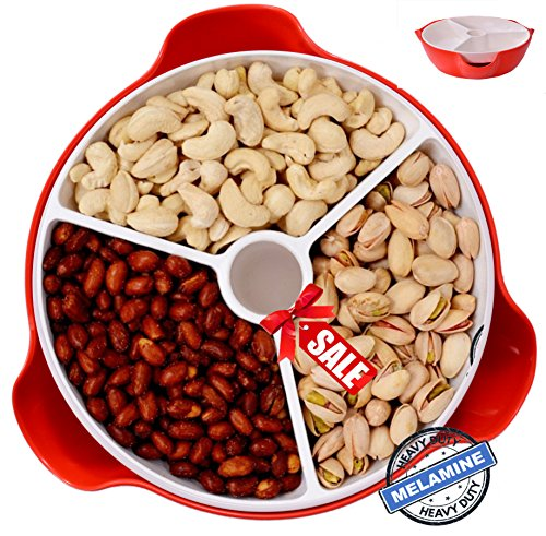 - Flash Sale 4 Hours Only Extra Large Double Dish Pistachio Bowl, Nut Dish, (9 X 9 X 4 Inches) Double Dish Pistachio Dish Bowl and Serving Dishes, Useful Christmas Serving Gift, Holidays & Parties (Red)