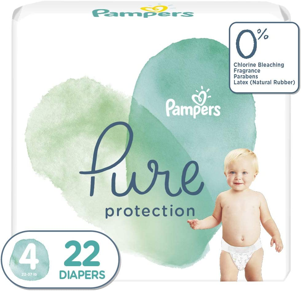 Diapers Size 4, 22 Count - Pampers Pure Protection Disposable Baby Diapers, Jumbo Pack