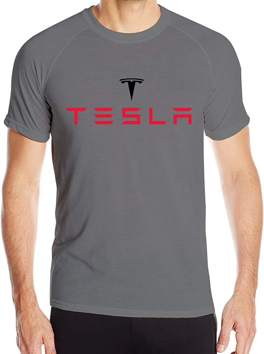 Custom Quick Drying Tesla Motors Logo T Shirt for Man Black