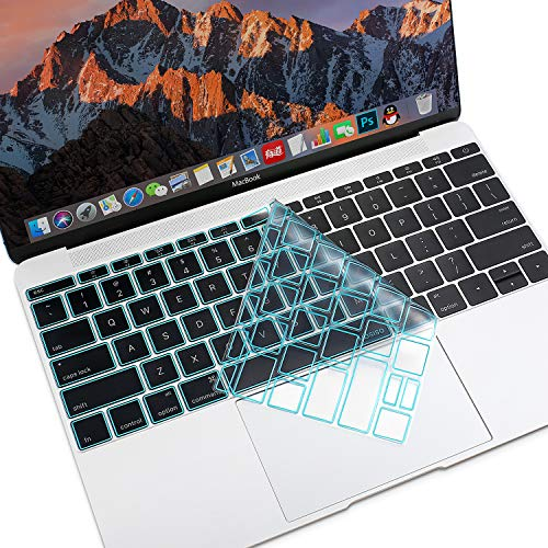 MOSISO Premium Soft TPU Ultra Thin Transparent Keyboard Cover Protector Compatible MacBook Pro 13 Inch 2017 & 2016 Release A1708 No Touch Bar & New MacBook 12 Inch A1534 Protective Skin, Hot Blue