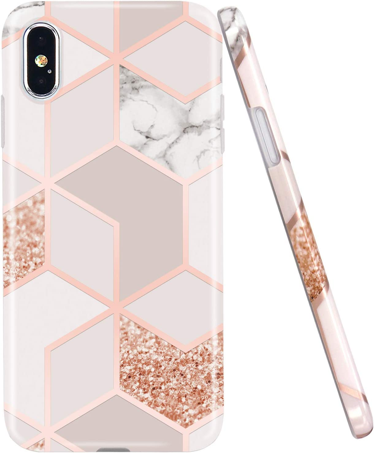 JAHOLAN Compatible iPhone X Case iPhone Xs Stylish Shiny Rose Gold Marble Design Clear Bumper Glossy TPU Soft Rubber Silicone Cover Phone Case