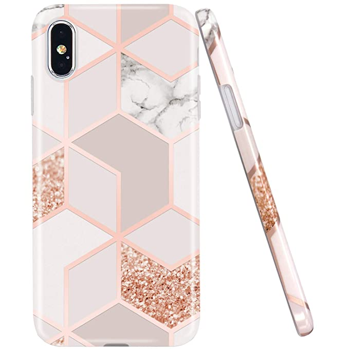 Jaholan Compatible I Phone Xs Max Case Bling Glitter Sparkle Rose Gold Marble Design Clear Bumper Tpu Soft Rubber Silicone Cover Phone Case For I Phone Xs Max 2018 6.5 Inch by Jaholan