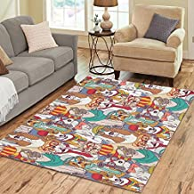 InterestPrint Home Decoration Cute Hispter Pug Puppy Dog Art Area Rug Cover 7' x 5', Animal Print Carpet Cover Rugs for Home Living Dining Room