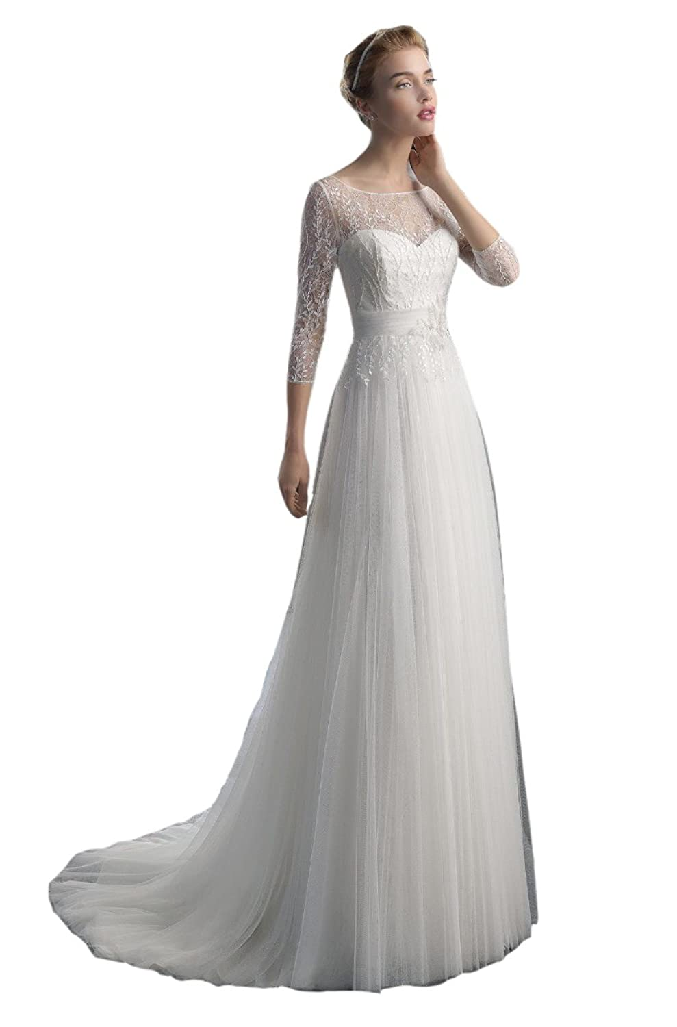 Engerla Women's A Line 3/4 Sleeves Beading Sequin Bodice Keyhole Back Tulle Long Wedding Dress