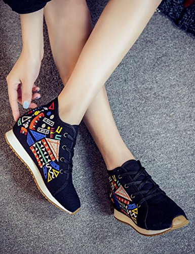Fanwer Womens Canvas Geometric Embroidered Cloth Shoes Increased Flats Casual Walking Sneakers Fashion Traveling Shoes Jihe-black LSy5qH7kB6