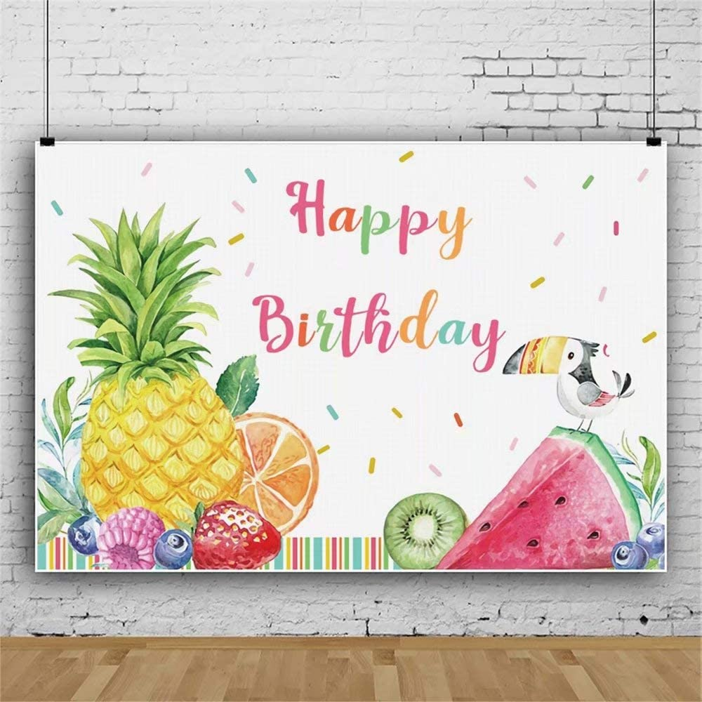 Laeacco 7x5ft Cartoon Happy Birthday Backdrop Summer Fruits Themed Party Decoration Background Polyester Pineapple Strawberry Watermelon Kiwi Fruit Children Kids Birthday Party Banner Photo Studio