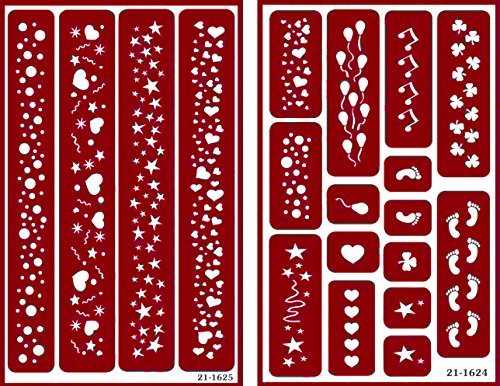 Over 'n' Over Reusable Self-Stick Etching Stencil for Glass (or Stamping) - Bundle of Two Sets - Borders - Balloons, Hearts, Footsteps, Bubbles, and Clover by Over n Over