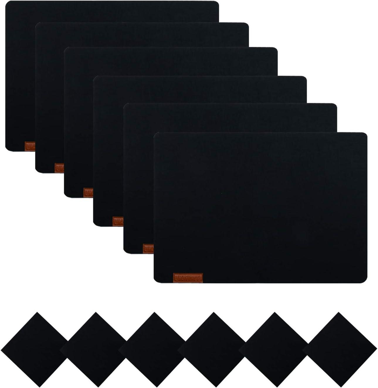 Feutre table sous linotypiste DECO glasuntersetzer Dessous De Verre Rond Lavable 10 Pièce