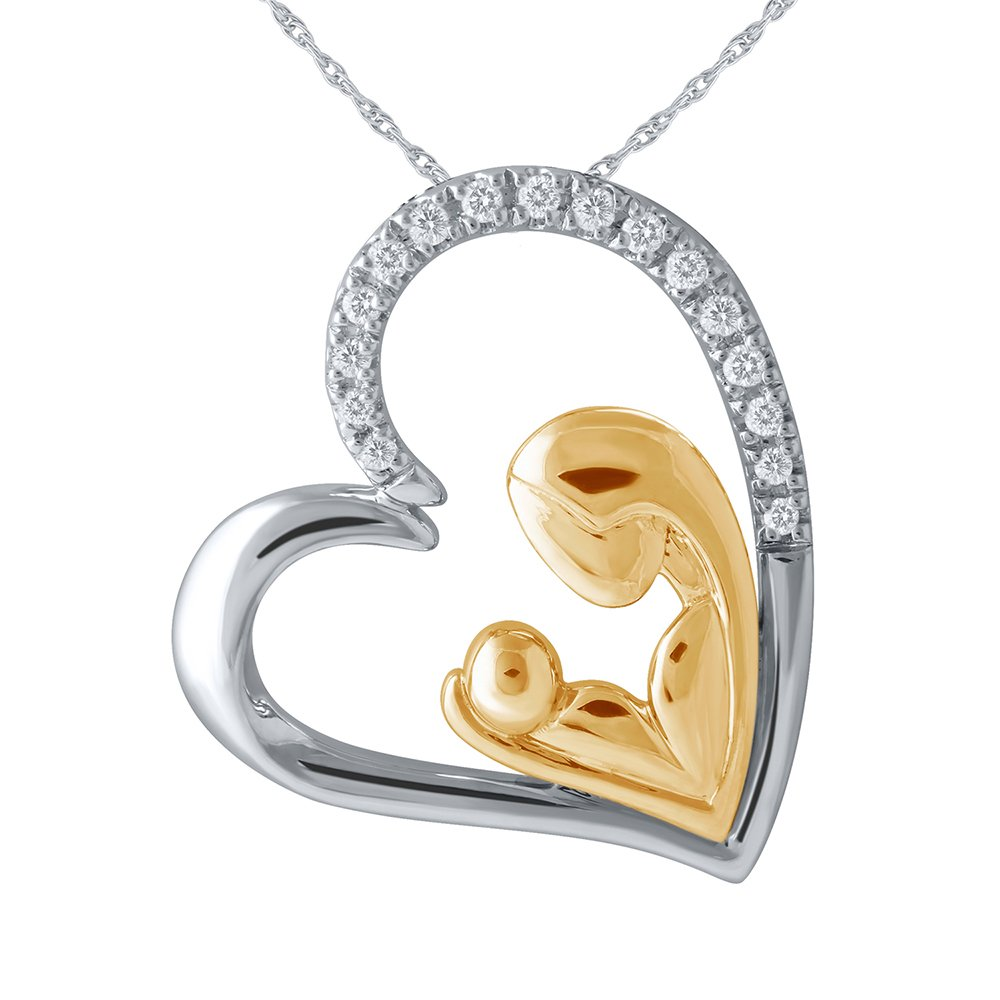 Christmas Gifts Pendants Necklace : Sterling Silver Mother Child Love Heart Two Tone yellow Plating Diamond Rhodium Pendant Necklace with a FREE 18'' fine Cable silver chain