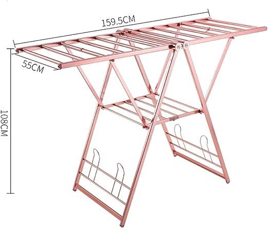 Lhh Plegable Estante para Secado de Ropa Tendedero Rack de Secado Vertical para el Espacio Balcón Quedarse Comunidad Aluminio (Color : Rose Gold): Amazon.es: Hogar
