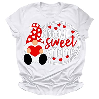 Camiseta para Mujer Moda DíA De San ValentíN Impreso O-Cuello ...