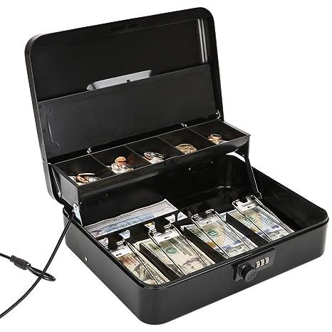 b348b6a0d4ff Jssmst Large Locking Cash Box with Money Tray, Metal Money Box with  Combination Lock, Black, SM-CB02302XL