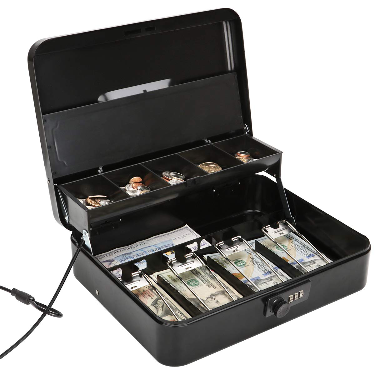 Jssmst Large Locking Cash Box with Money Tray, Metal Money Box with Combination Lock, Black, SM-CB02302XL