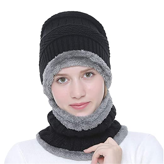 8e0ebe9a8b78c Woman Winter Beanie Hat Skull Cap Thick Fashion Warm Knit Hat Scarf Set for  Men and