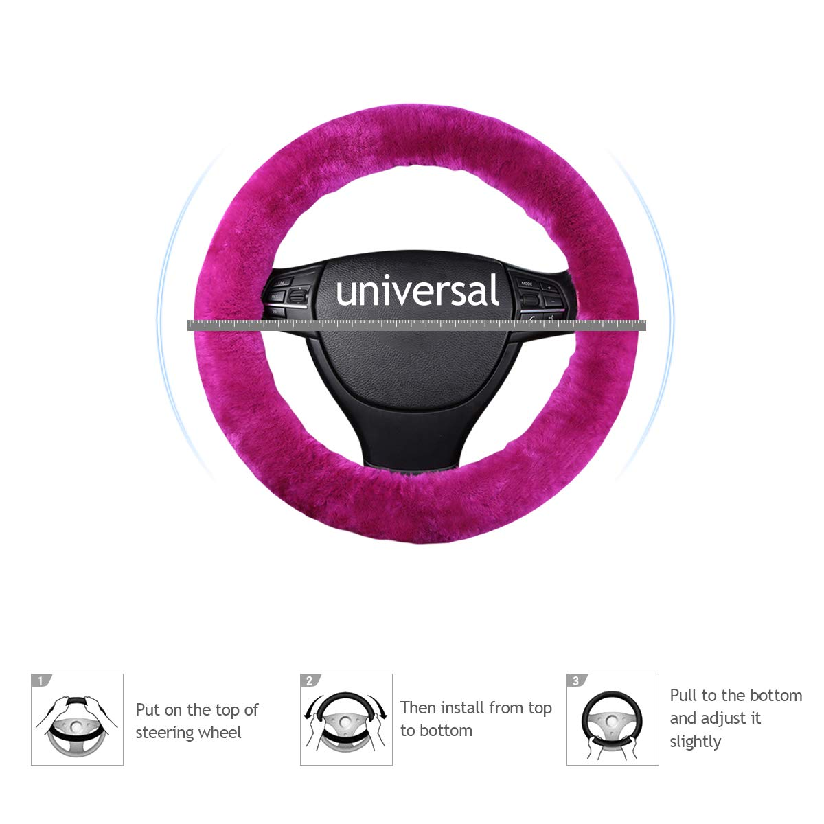 Ergocar weicher Auto-Lenkradbezug der reinen Wolle universeller rutschfester elastischer Winter warmer Autolenkradschutz Pink