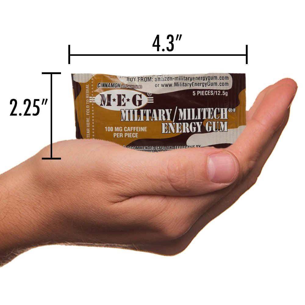 MEG - Military Energy Gum | 100mg of Caffeine Per Piece + Increase Energy + Boost Physical Performance + Cinnamon 24 Pack (120 Count) by MEG (Image #5)