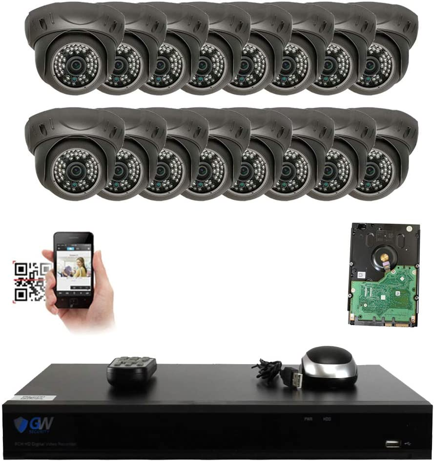 GW Security 16 Channel 4K NVR 5MP IP Camera Network PoE Surveillance System with 16-Piece HD 1920P Outdoor Indoor Weatherproof Dome Cameras – Grey