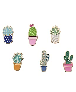 FLYPARTY 6 Pcs Cute Enamel Lapel Pins Sets Cartoon Animal Plant Fruits Foods Brooches Creative Pin Badges for Clothing Bags Backpacks Jackets Hat Accessory (Succulents Cactus Plants)