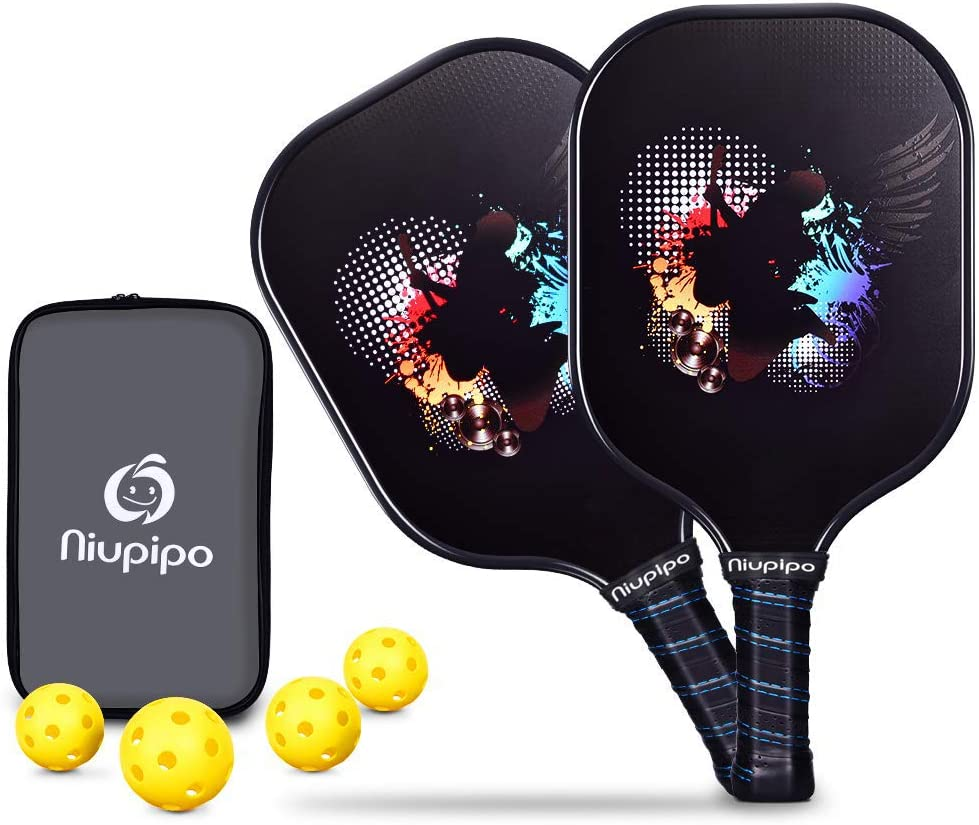 Pickleball Paddle - Graphite Pickleball Rackets Set of 2 Pickleball Racquets & 4 Balls, 1 Bag, Polypropylene Honeycomb Core, Graphite Face Cushion ...