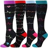 HLTPRO Compression Socks for Women & Men Circulation - 4 Pack for Nurse, Medical, Running, Flight