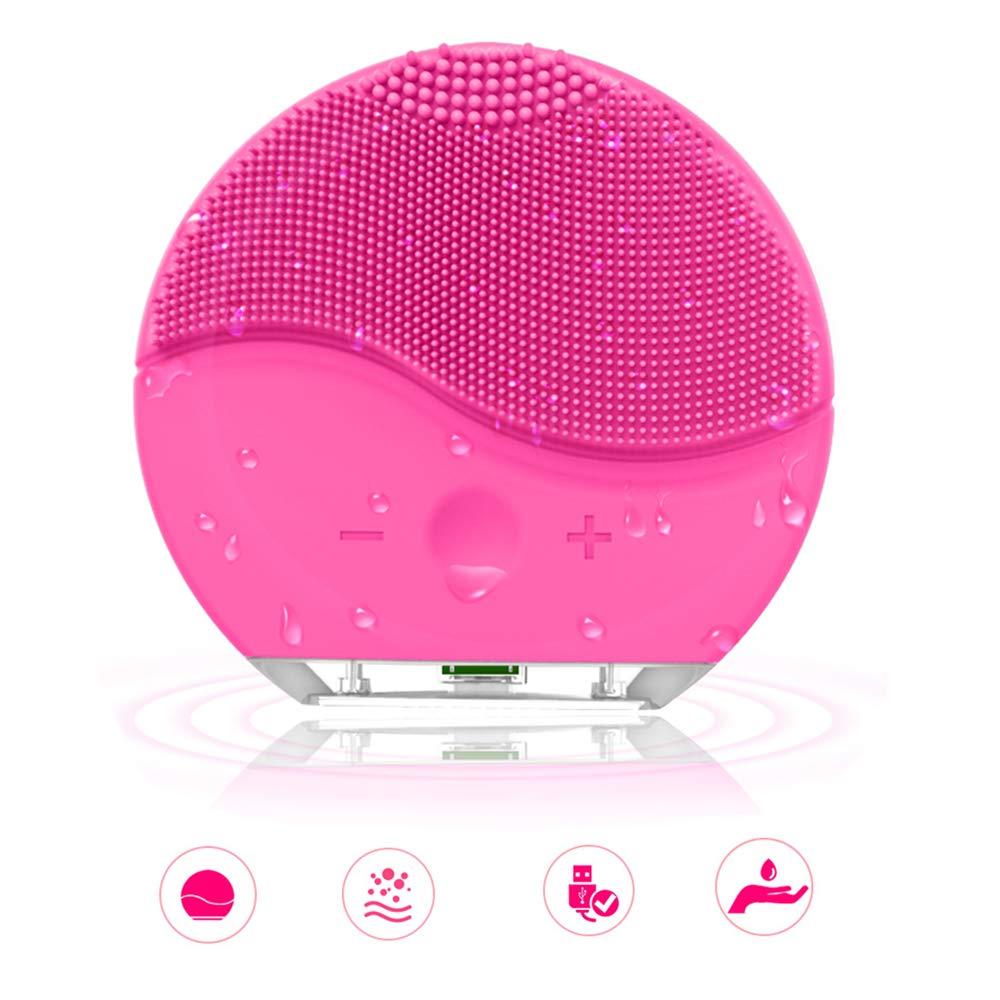 Pennello detergente viso siliconico, DAREN& KIWI Mini detergente viso ultrasonico ricaricabile per ogni tipo di pelle (Rosa)