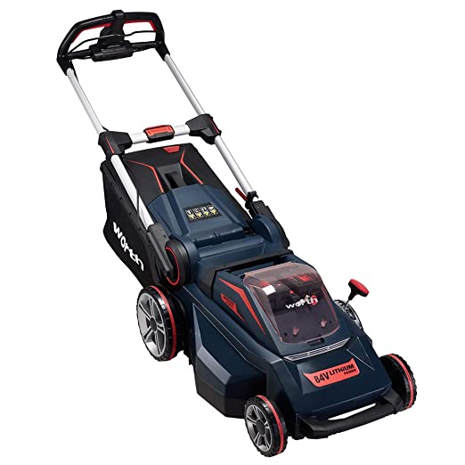 Worth PowerMax Batería de Litio de 84 voltios Auto-propulsado Cortacésped Inalámbrico Sin escobillas Motor Smart Cut (TM) 510mm 45mins Solo para ...