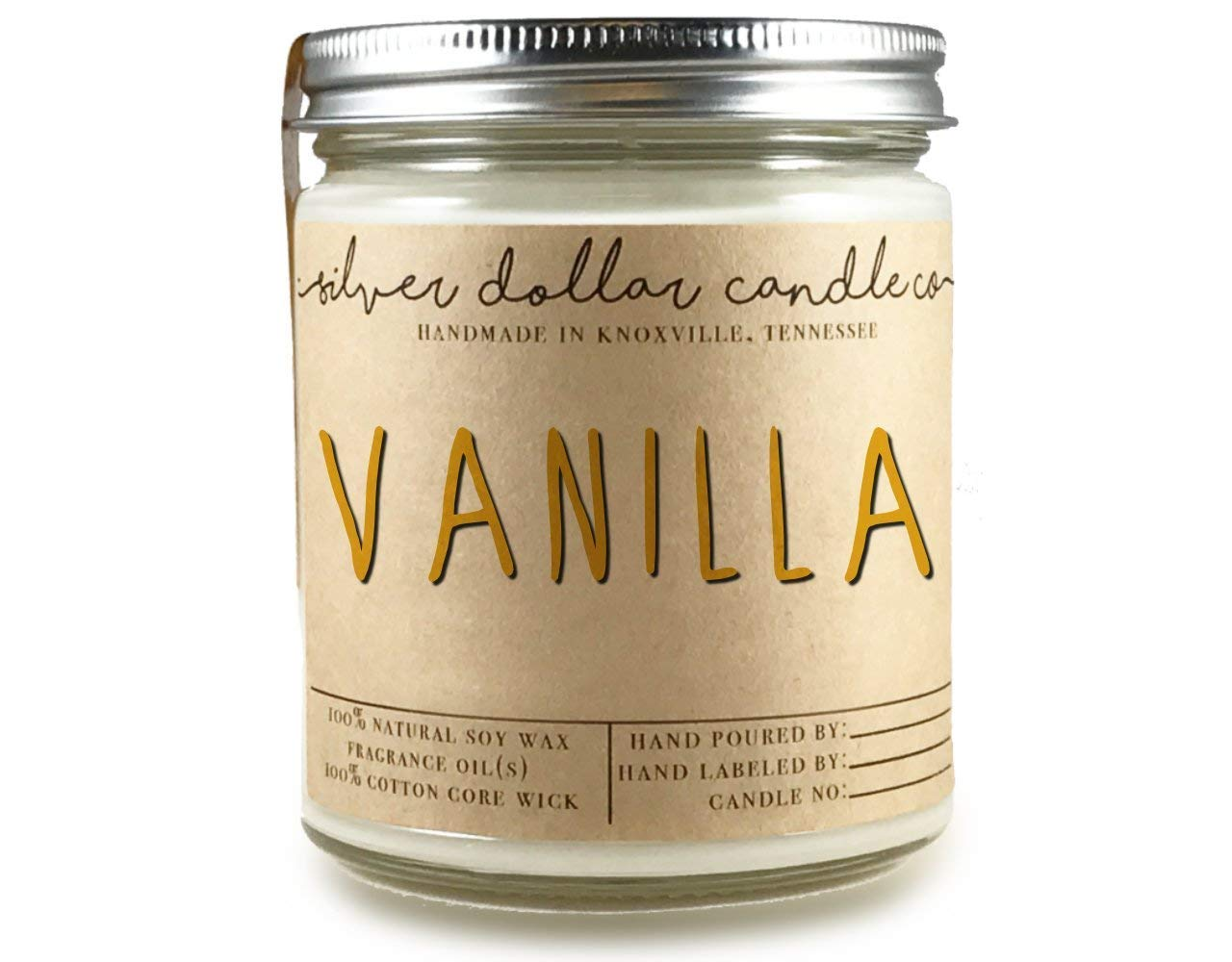 Vanilla Scented 8oz Candle 100% Soy by Silver Dollar Candle Co.