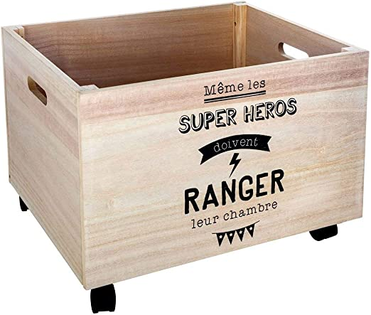 Atmosphera - Caja de madera para almacenar juguetes, con ruedas, 50 x 40 x 36 cm: Amazon.es: Hogar
