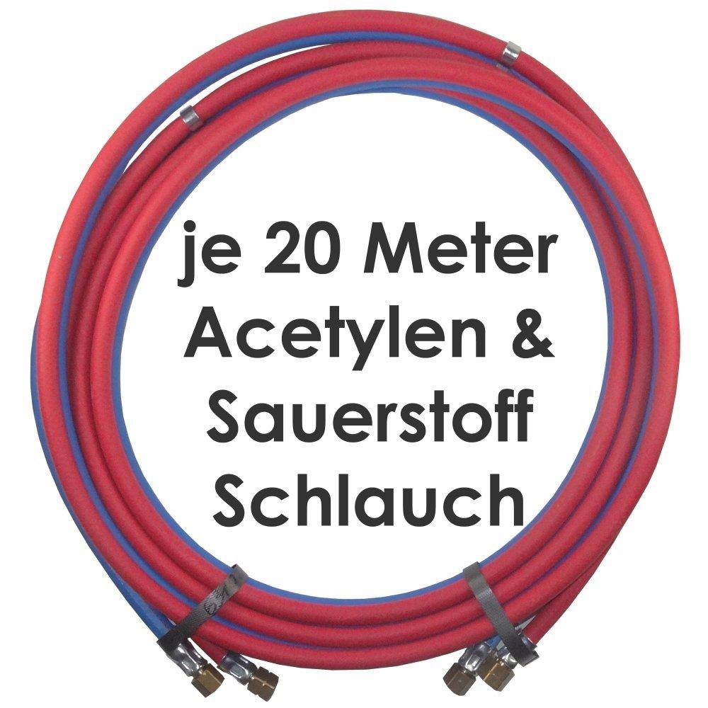 Acetylen Sauerstoff Gasschlauch Zwillingsschlauch 20 Meter - Semperit Profi Gummischlauch zum autogen schweißen oder schneiden - Semperit Profiqualität von Gase Dopp hergestellt für Gase Dopp