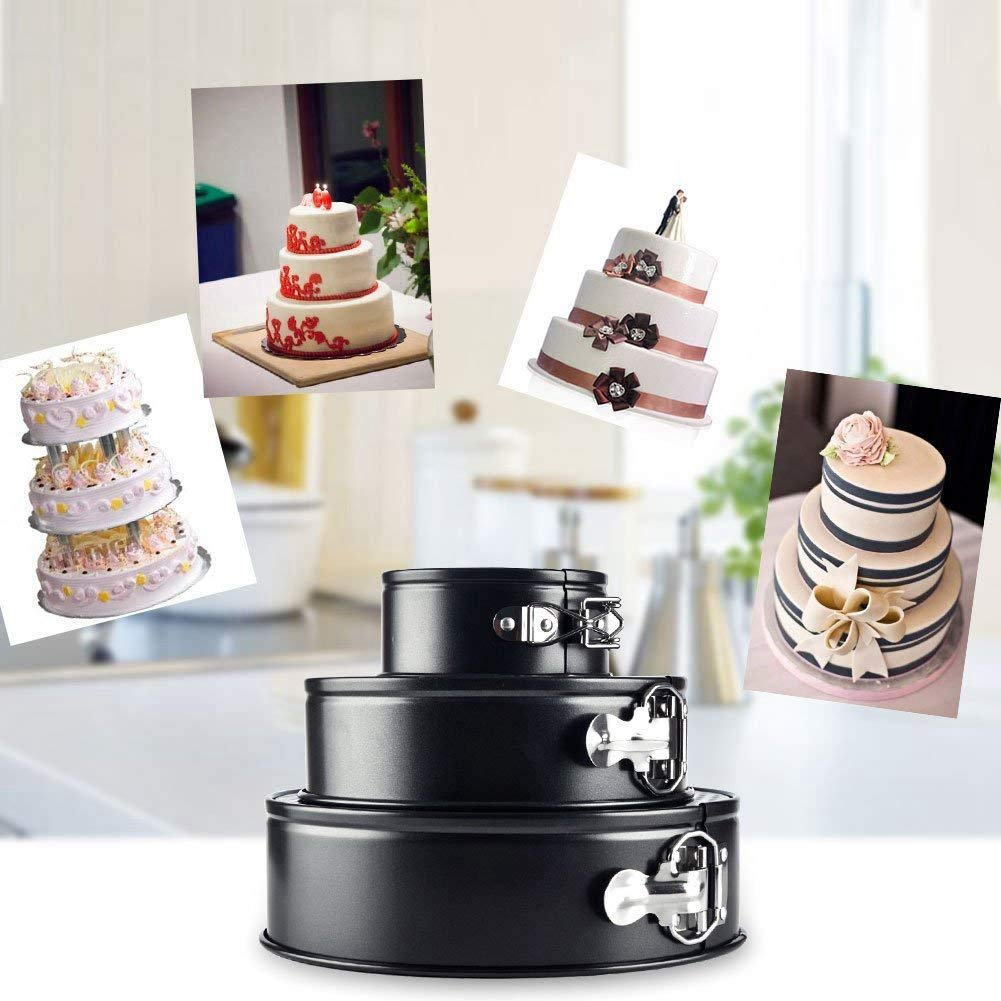 Ants-Store - Cake Pan 3 Pieces/Set 4 Inch 7 Inch 9 Inch Non-Stick Leakproof Round Cake Pan with Removable Bottom Cake Pan by Ants-Store (Image #5)