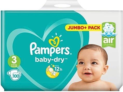 Pampers Baby-Dry - Pañales (tamaño 3, 100 unidades), diseño de bebé: Amazon.es: Salud y cuidado personal