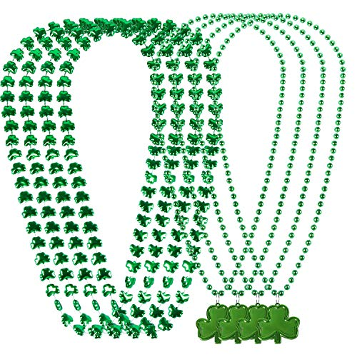 SoFire 8 Pieces 2 Style St. Patrick's Day Green Bead Necklaces Shamrock Clover Necklaces for St. Patrick's Day Decoration]()