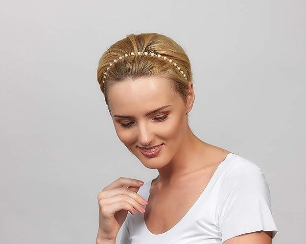 4c9ad452b2a0 Amazon.com  Pearl Jeweled Headband with Swarovski Crystals 3 in 1  Handmade