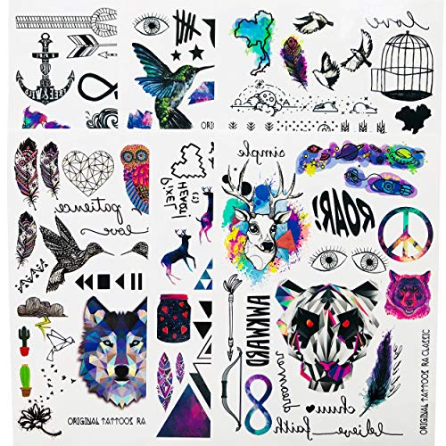 Leoars 6 Sheets Temporary Tattoos Stickers Fake Body Arm Chest Shoulder Tattoo for Men Women -