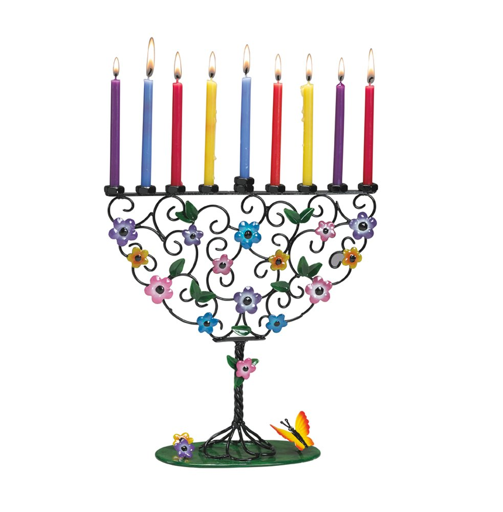 Rite -Lite Judaica Flowering Tree of Life 10-Inch by 10-Inch Hand Craft Metal Menorah Gift Box Rite Lite LTD MFC-9