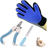 Olyeem Pet Grooming Glove,Pet Nail Clippers Trimmer, Pet Dog Cat Rabbit Nail Clipper Scissors Animal Claw Groomer Trimmer Cutter with File,Gentle Efficient Grooming Bath Tool kit for Pets