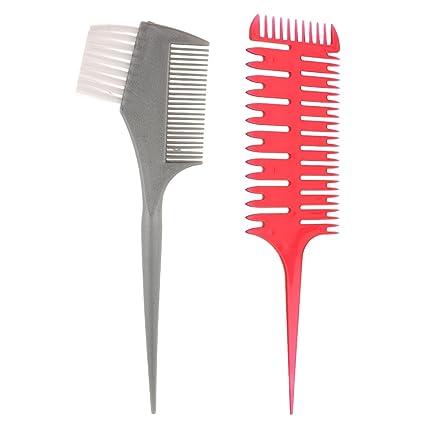 Sharplace Peine de Sección de Microbraiding de 3 Canales Herramientas de Peluquería Salón + Cepillo Doble