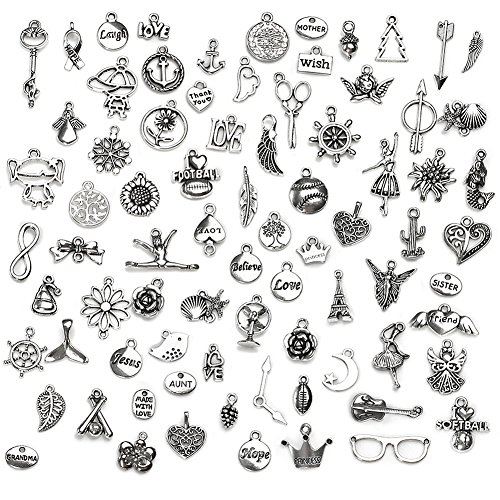 Wholesale 100G(Approx 100PCS) Antique Silver Mixed Charms Pendants DIY for Jewelry Making and Crafting
