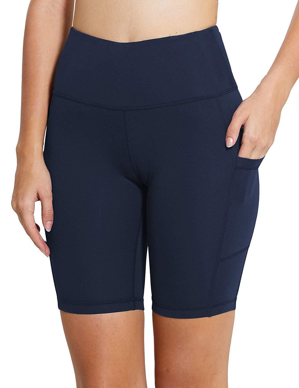 MYIFU Women's Solid Stretch High Waist Board Shorts Training Bike Sport Swim Short (X-Large, Dark Blue-2) by MYIFU (Image #8)