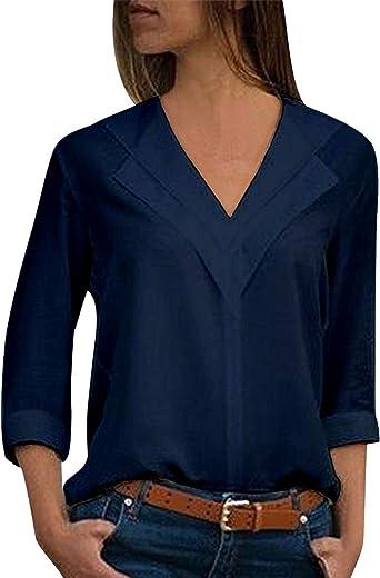 Blusas Mujer Escote V Blusa Manga Larga Camisas Señora Top Camisa Vestido de Gasa Larga Camiseras Oficina Elegantes Camisetas Cuello V Lisas Chica Blusones Vestir Formales Fiesta Largas Anchas: Amazon.es: Ropa y