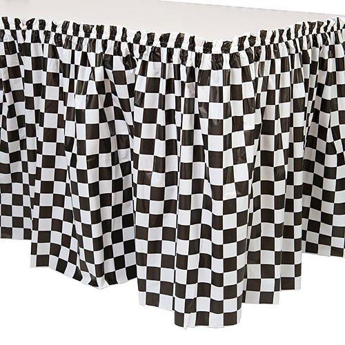 Black and White Checkered Plastic Table Skirt -