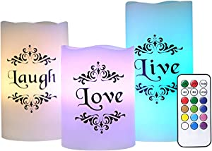 """Eldnacele Set of 3 Color Changing Candles Battery Operated Flickering Flameless Pillar Candles Multi Coloredwith Remote Control Timer - Live, Love, Laugh Candles (D3"""" x H4"""" 5"""" 6"""")"""