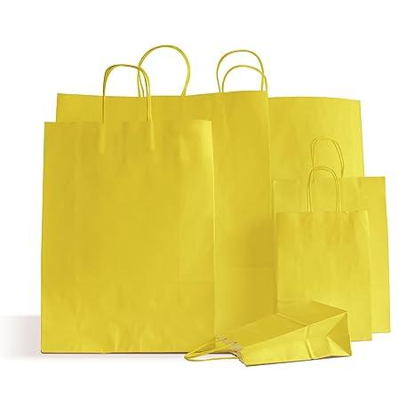 20 bolsas de papel amarillas con asas trenzadas ideales para ...