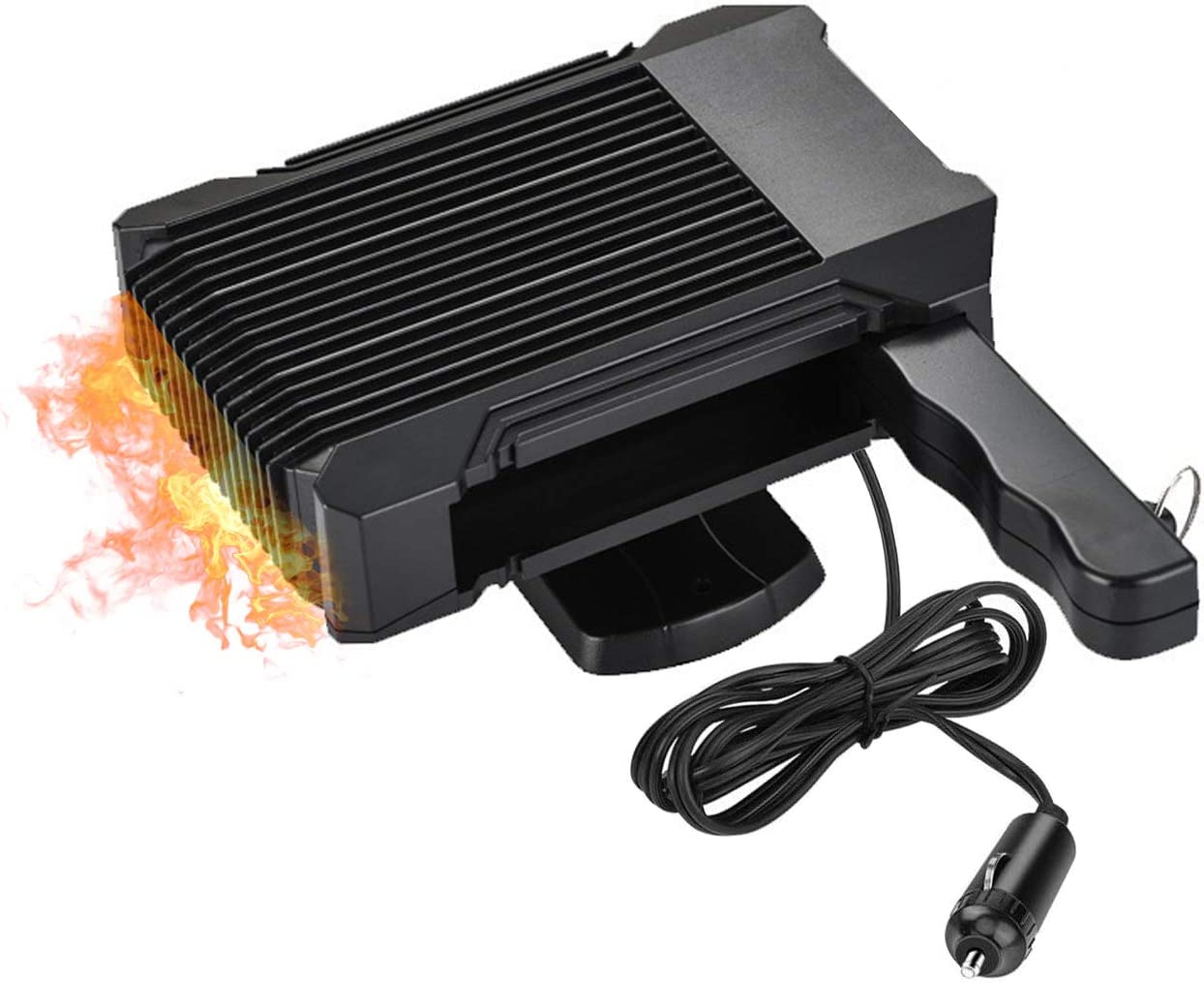 Black Portable Car Heater,30s Fast Heating Quickly Defrosts Defogger 12V 150W Auto Ceramic Heater Cooling Fan