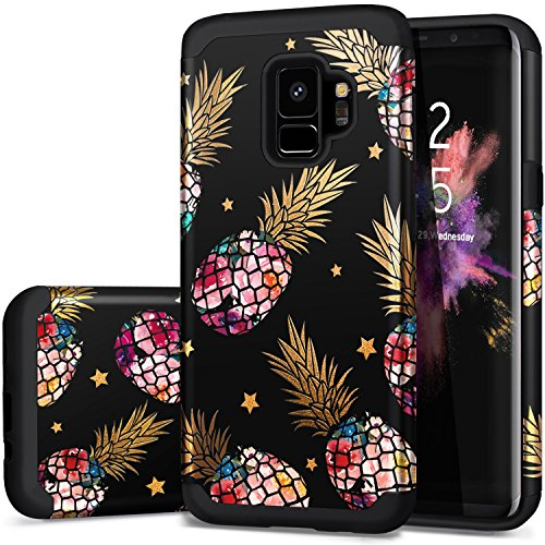 S9 Cases,Galaxy S9 Case Black,Fingic Slim Fit Phone Cover Colorful Pineapple&Shinny Star Design Case Hard PC&Soft Silicone Hybrid Protective Case for Samsung Galaxy S9 5.8(2018),Floral Pineapple/Blac