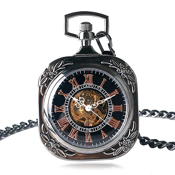 Skeleton - Reloj de Bolsillo Cuadrado para Hombre, Unisex, para bobinado de Manos, mecánico, Reloj de Bolsillo, Regalo: Amazon.es: Relojes