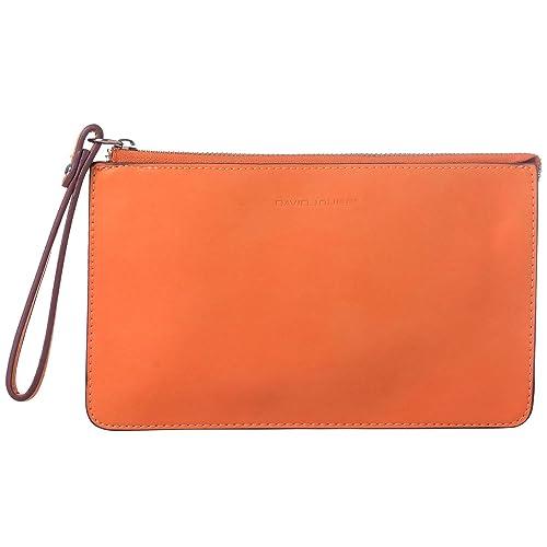 DAVIDJONES Women s Wallet Wristlet With Wrist Strap-Orange  Amazon ... 72dd3f07a236e