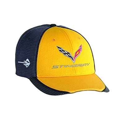 Chevrolet Corvette C7 Carbon Fiber Look Baseball Hat, Yellow, One Size: Clothing